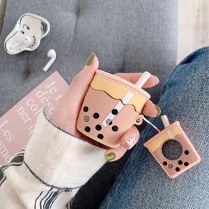 NEW Boba Tea Airpods Silicone Case W/Ring Strap